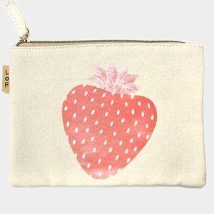 Strawberry Cotton Canvas Eco Pouch Bag